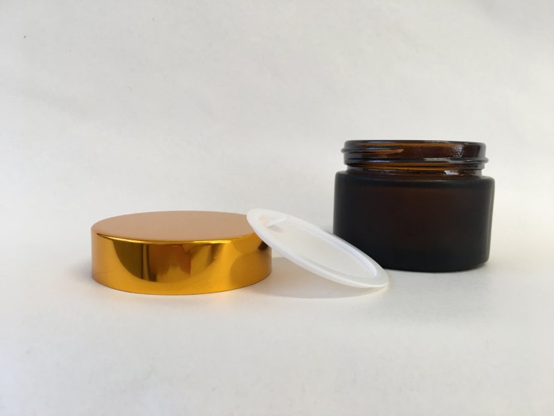 50 g GLASS JAR BROWN FROSTED, GOLD CAP -  - 2