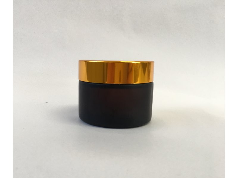 50 g GLASS JAR BROWN FROSTED, GOLD CAP -