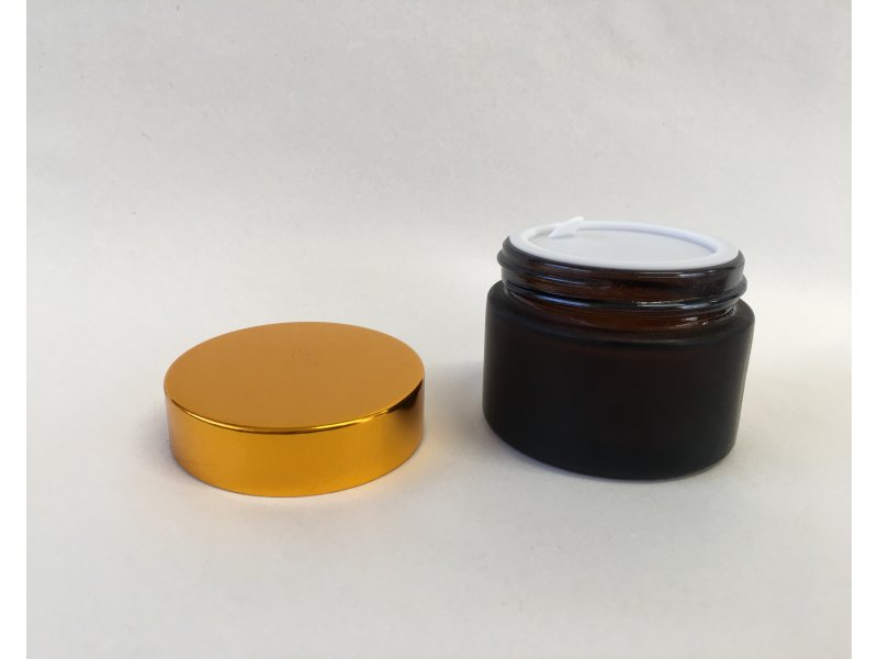 50 g GLASS JAR BROWN FROSTED, GOLD CAP -  - 3