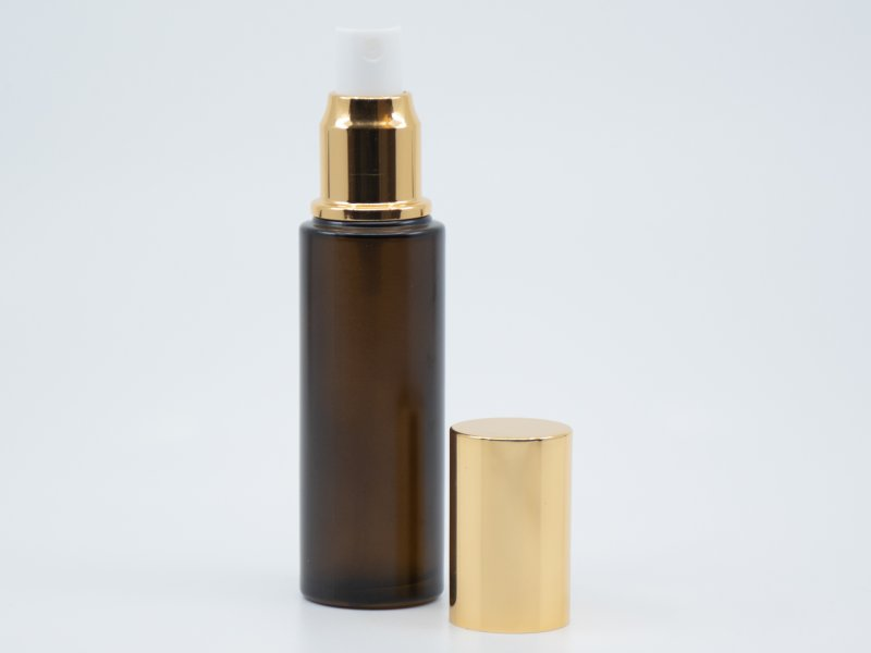 GLASS BOTTLE BROWN FROSTED SPRAY, GOLD CAP, 50 ML